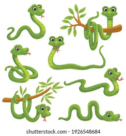 Set of cartoon green snake in various poses. Cute smiling animals, funny reptile of wild tropical nature. Flat vector isolated illustrations for kids design.