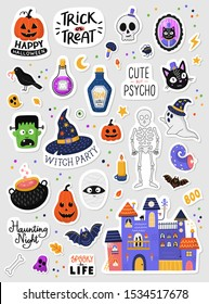 Set of cartoon Halloween stickers. Hand drawn illustration. Isolated sticker pack on grey background. Set of stickers, patches, pins in cartoon style. Vector collection of Halloween theme elements.