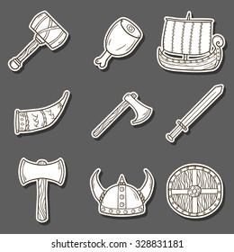 Set of cartoon hand drawn stickers on viking theme