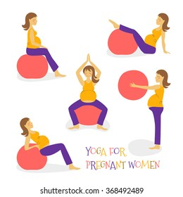 set cartoon hand icon fitness yoga for pregnant woman on fit ball