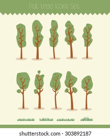 Set of cartoon hand-drawn trees and grass elements