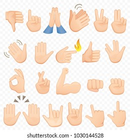 Set of cartoon hands icons and symbols. Emoji hand icons. Different hands, gestures, signals and signs, vector illustration collection.