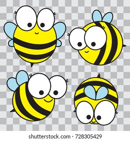 Set of cartoon happy bees. Isolated vector illustration. Hand drawn. Doodles  bees.
