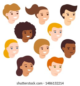 Set cartoon happy multicultural children girl and boy, avatar. Cute diverse kids faces. Vector illustration