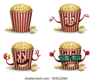 Set of cartoon happy popcorn basket with different emotions. One popcorn basket wears 3d glasses. vector illustrations