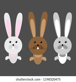 Set of cartoon hares. Vector illustration set of funny hares, rabbits.