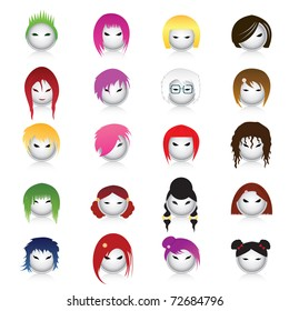 Set of cartoon heads with different hairstyles-vector people