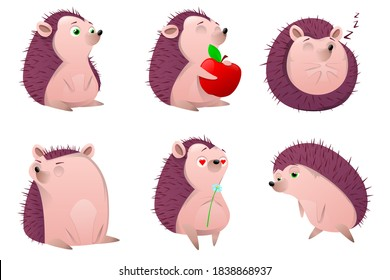 Set of cartoon hedgehog character. Cartoon prickly animal  in different poses on a white background.  Forest animal, spiny mammal. Cute hedgehog with apple and mushrooms. Vector illustration