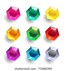 Set of cartoon hexagon different color crystals, gemstones, gems,diamonds vector gui assets collection for game design isolated on white background. Gui elements, vector assets. Menu for mobile games