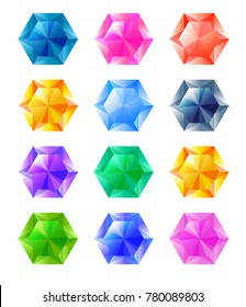 Set of cartoon hexagon different color crystals, rhinestones, gems, diamonds vector stock collection for game design isolated on white background. Gui elements, vector assets. Menu for mobile games