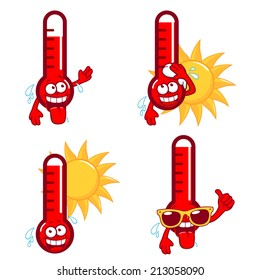 Set of cartoon hot thermometers. Vector illustration.