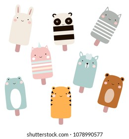 Set of cartoon ice cream with cute animal faces. Vector hand drawn illustration.