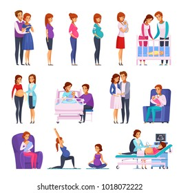 Set of cartoon icons with gymnastics during pregnancy, medical examination, childbirth, newborn, happy family isolated vector illustration