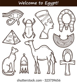 Set of cartoon icons in hand drawn style on Egypt theme: pharaon, nefertiti, camel, pyramid, scarab, cat, eye. Africa travel concept for your design