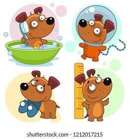 Set of cartoon icons for kids and dogs design. The puppy sits in the bathroom, washes with a brush, the astronaut in a spacesuit, holds sneakers in his teeth, measures growth near the ruler.