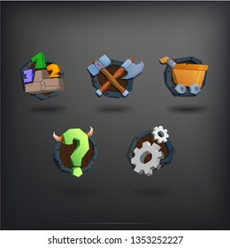 Set of cartoon icons for mobile game. Viking style. Wood shield. Rating play shop FAQ settings