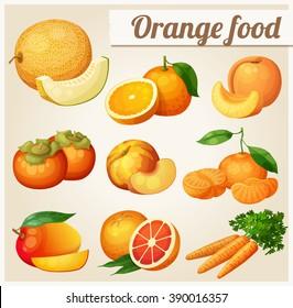 Set of cartoon icons. Orange food. Melon, orange, peach, apricot, persimmon, mandarine, mango,grapefruit, carrot