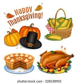 Set of cartoon icons for thanksgiving dinner, roast Turkey, pumpkin, pumpkin pie, pilgrim hat, corn. Vector illustration