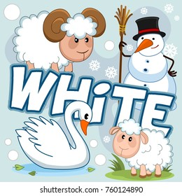 A set of cartoon illustrations for children of white color with a picture of a swan, a snowman, snowflakes, a sheep and a ram on a white background.