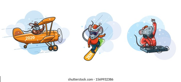 Set of cartoon illustrations of White metal rat - symbol of the year 2020.  Rat pilot and old vintage plane, rat on the snowboard, rat DJ with headphones and DJ deck. Editable EPS vector