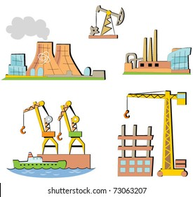 Set of the cartoon industrial buildings. Expansion of the series (4).