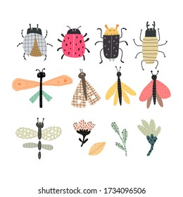 Set with cartoon insects, hand drawing lettering . Colorful flat vector illustration for children.baby design for prints, posters, cards