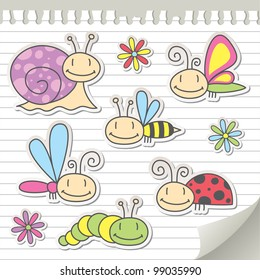 set of cartoon insects with snail and flowers