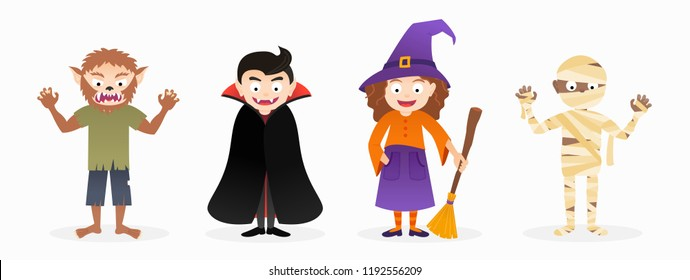 Set of cartoon isolated vector halloween costume characters