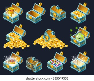 Set of  cartoon isometric treasure chests with golden coins and precious stones on black background. Isolated vector illustration for web games.