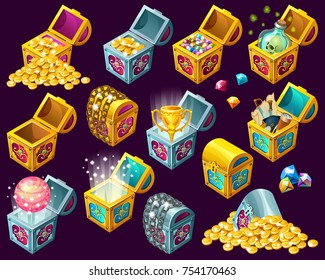 Set of  cartoon isometric treasure chests with golden coins and precious stones on dark background. Isolated vector illustration for web games.