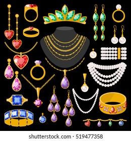 Set of cartoon jewelry accessories vector fashion beauty precious gem design. Earrings, rings, beads