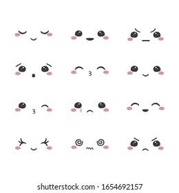 Set of cartoon kawaii faces, different emotions. Vector illustration.
