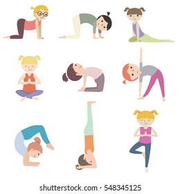 Set of cartoon kids yoga with flat design color