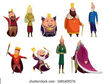 Set of cartoon kings wearing crown and mantle