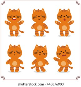 Set of cartoon kitten cat in different emotion isolated on white background.