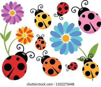 Set of Cartoon Ladybug Clipart.