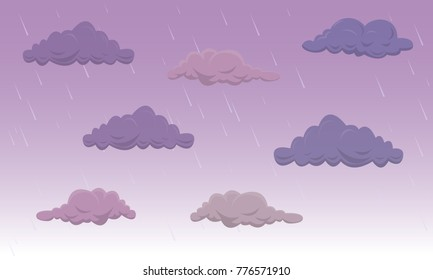 Set of cartoon large heavy thunderclouds on the sky. Vector Illustration.