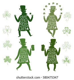 Set of cartoon leprechauns silhouette dancing and  holding beer. Including doodle shamrocks and lettering. Patrick's Day illustration with greeting.