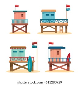 Set of cartoon lifeguard towers on a white background. Vector summer illustration.