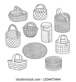 Set of cartoon line art vector hand drawn abstract baskets