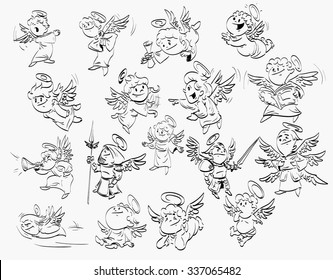 A set of cartoon line drawings of angels. Different types and poses.