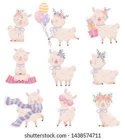 Set of cartoon llamas. Vector illustration on white background.