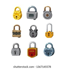 Set with cartoon locks. Vector padlock icon - security symbol, protection sign. Vector graphic isolated on white background.