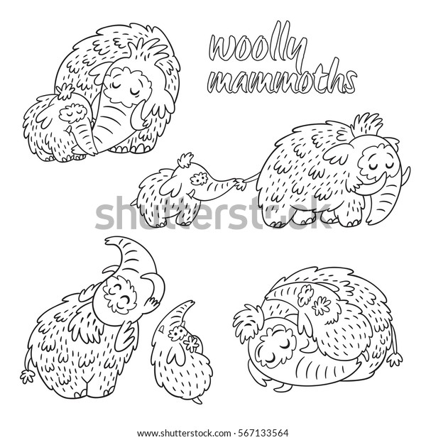 Monochrome Sketch Mammoth, Coloring Page Stock Vector ... | 620x600