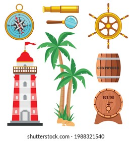 Set cartoon marine elements in a flat style, isolated on a white background. Lighthouse, compass, rope, rudder, telescope, bell, wooden powder keg, rum barrel, palm tree, magnifying glass