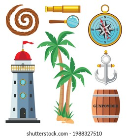 Set of cartoon marine elements in a flat style, isolated on a white background. Lighthouse, compass, rope, rudder, telescope, wooden powder keg, palm tree, magnifying glass