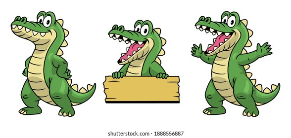 set of cartoon mascot of crocodile character