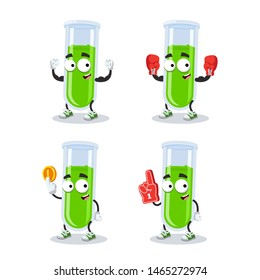 set of cartoon medical glass test tube character mascot on white background