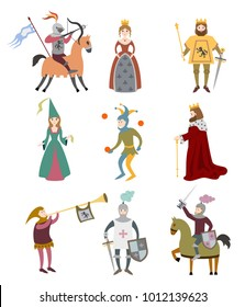 Set of cartoon medieval characters on white background. Vector illustration.