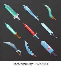 Set of cartoon medieval swords. Collection of decoration weapon for computer game design. Fantasy and epic stiletto, rapier, sabre, knife and broadsword vector illustration.